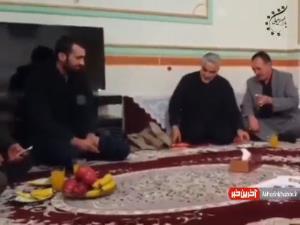 فیلم کمتر دیده شده از دیدار شهید سلیمانی با خانواده شهید مدافع حرم ارتش