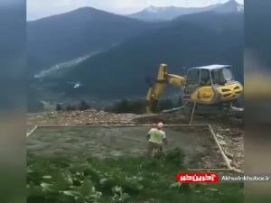 از هلیکوپتر به عنوان بالابر مصالح استفاده میکنند!