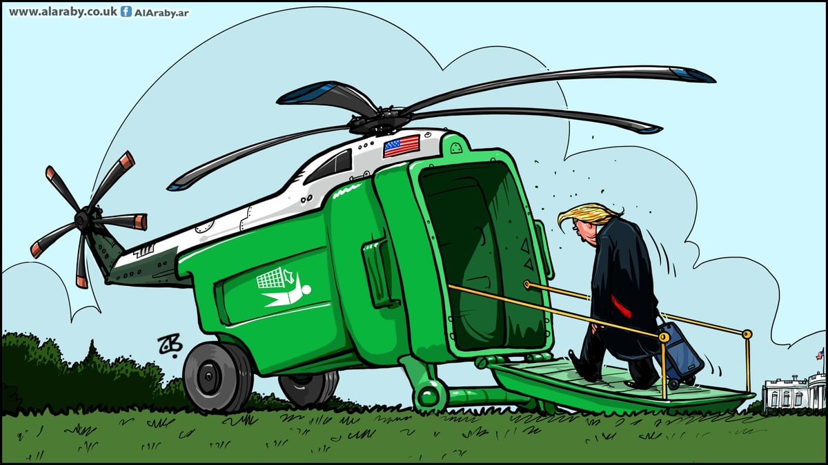 کاریکاتور/ ترامپ به سوی جایگاه واقعیاش قدم بر میدارد