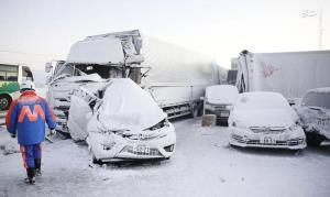 کولاک در ژاپن ۱۳۴ خودرو را گرفتار کرد