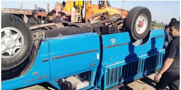 نجات راننده کامیون پس از تصادف مرگبار در محور شوش