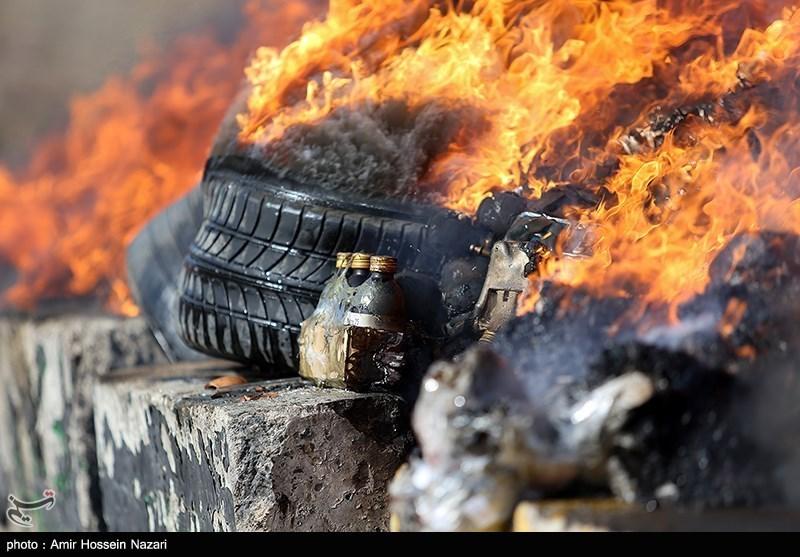 عکس/ امحای بیش از یکتن مواد مخدر در قزوین