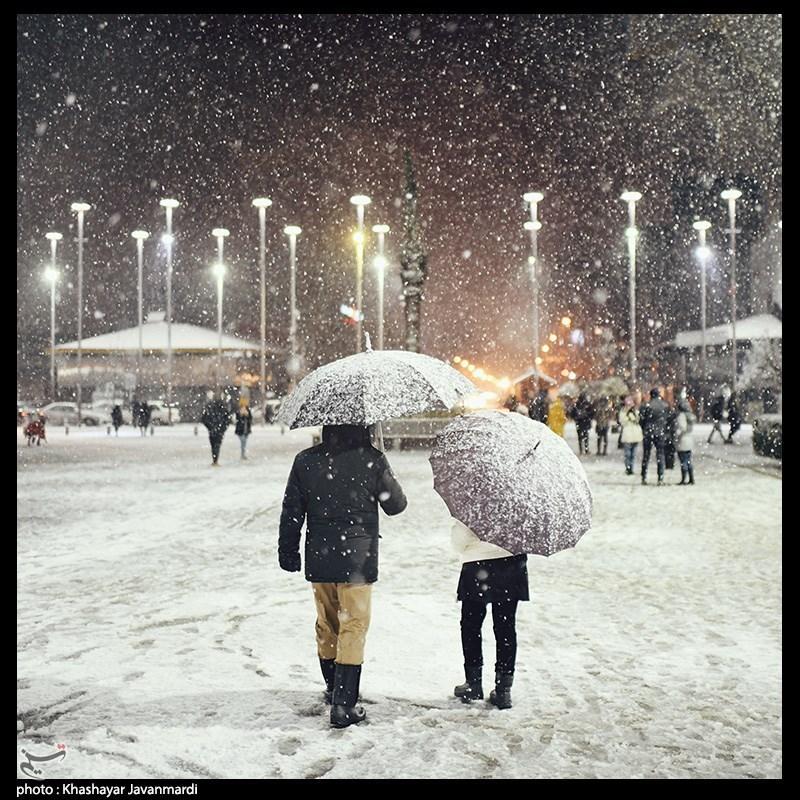 بارش زیبای برف زمستانی در رشت