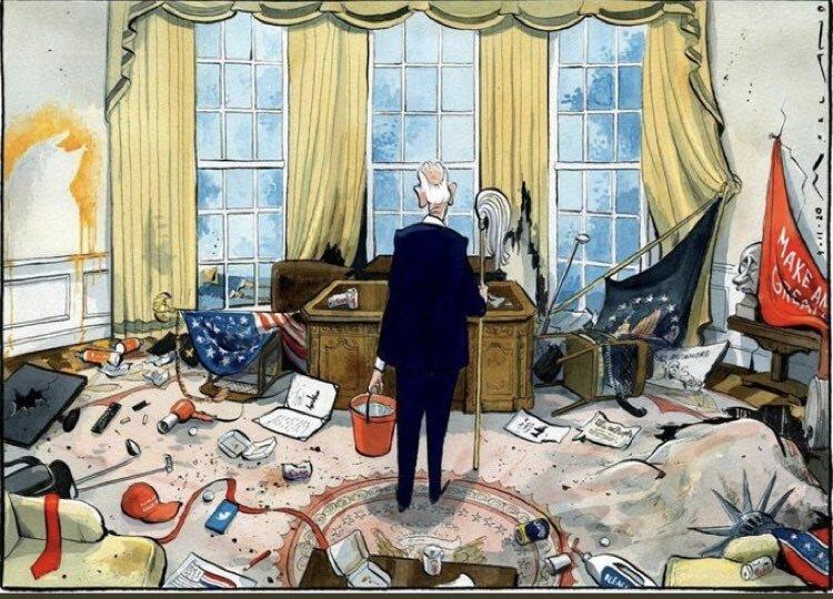 کاریکاتور/ اولین روز کاری بایدن در کاخ سفید!