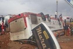 یک کشته و ۵مصدوم در واژگونی اتوبوس