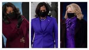 ماجرای لباس بنفش خانمها در تحلیف بایدن