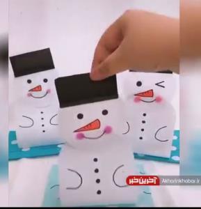 کاردستی ساده و سریع آدم برفی برای کودکان