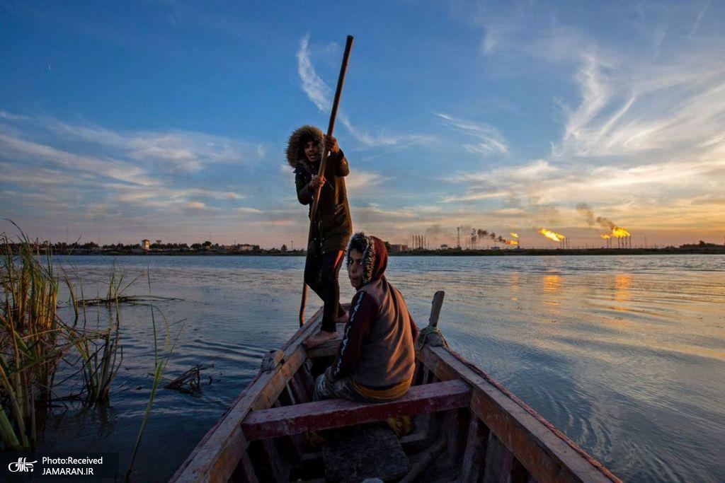 ماهیگیران عراقی در شمال بندر بصره این کشور