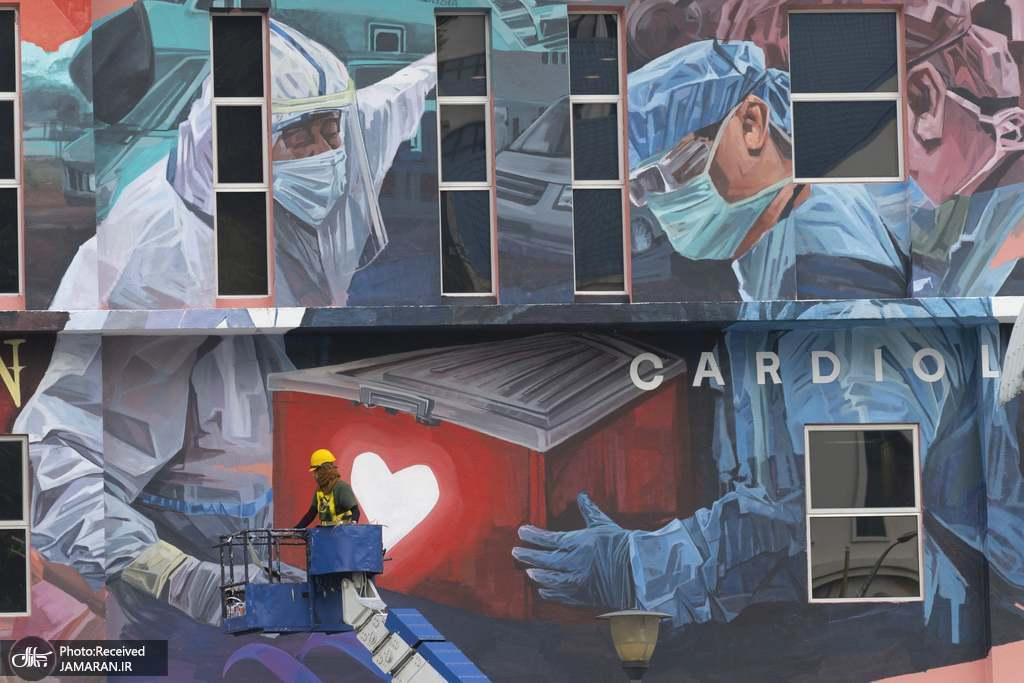 نقاشی دیواری برای ادای احترام به پرسنل خدماتی و درمانی در کوالالامپور