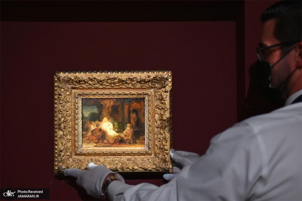 نقاشی حضرت ابراهیم و فرشتگان شاهکار رامبرانت