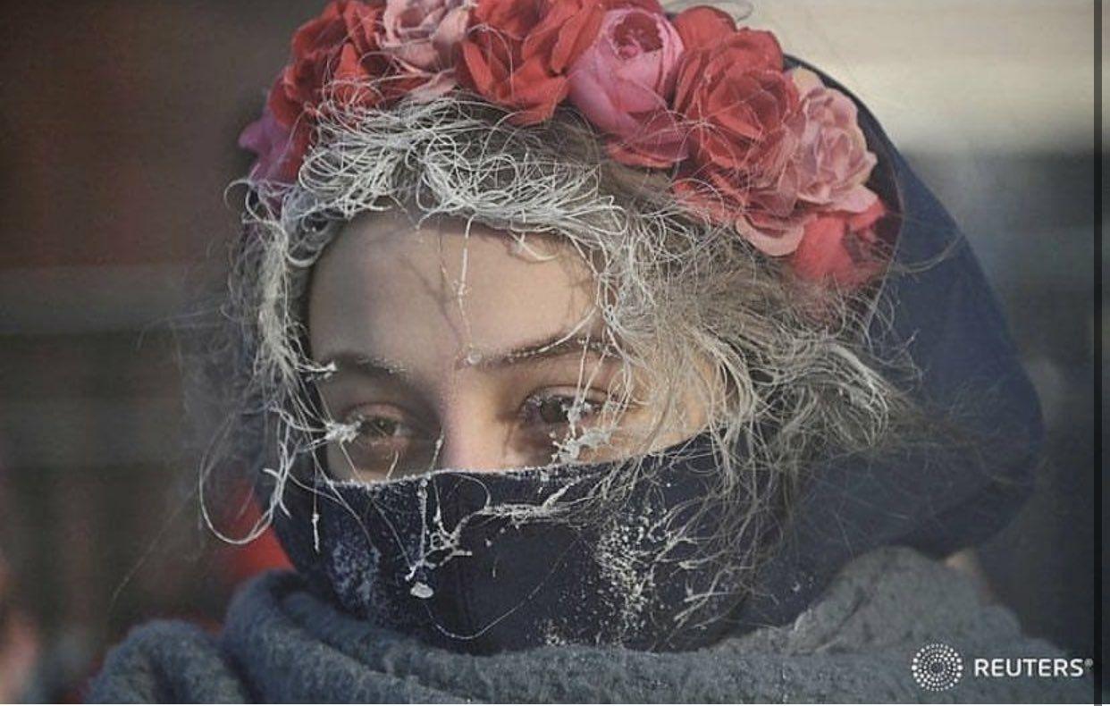 چهره یخ زده معترض روس