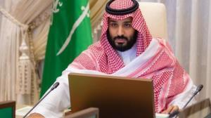 حضور بن سلمان در جلسه دولت با شال قطری