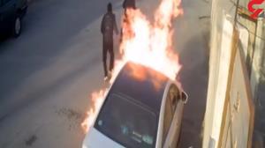 لحظه آتش زدن سوناتا توسط  ۲ موتورسوار بوشهری