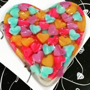 ترفند بی نظیر ژله خرده شیشه با قلب های عاشقانه