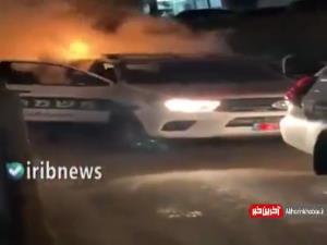 آتش گرفتن خودروی پلیس رژیم صهیونیستی با بطری آتش زا