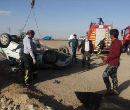 واژگونی مرگبار خودرو در یزد