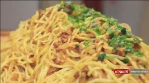اسپاگتی گوشت با ریزه کاریهای خوشمزه تر شدن آن