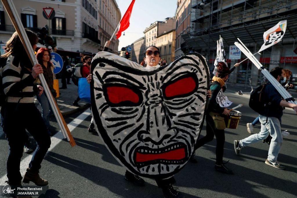 اعتراض به محدودیت های کرونایی در ایتالیا