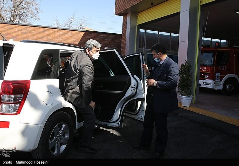 خودروی شهردار تهران در مراسم افتتاح ایستگاه جدید آتشنشانی