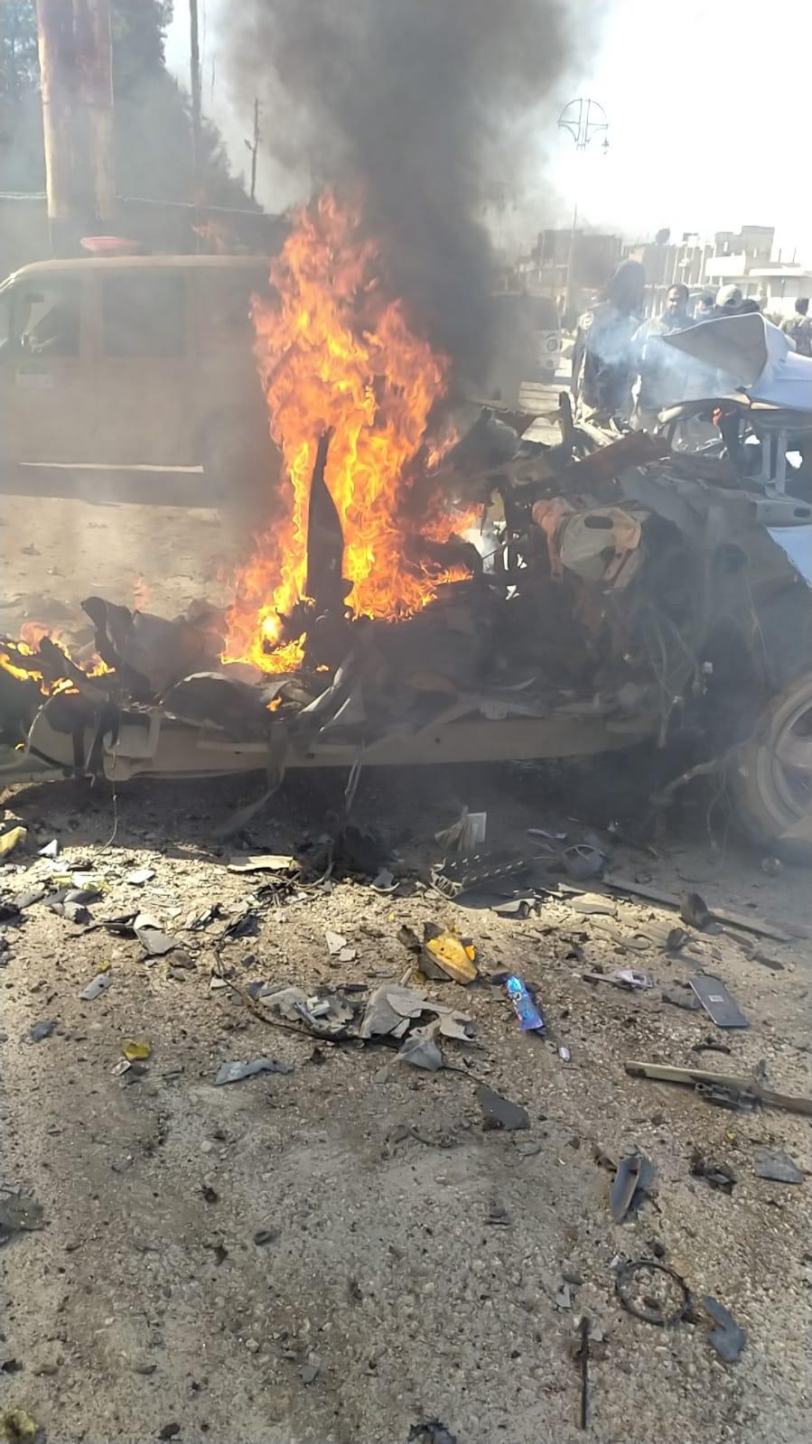 عکس/ انفجار خودروی بمب گذاری شده در رأس العین سوریه
