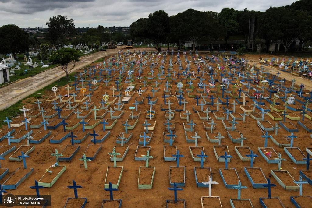 قبرستان قربانیان کرونا در برزیل
