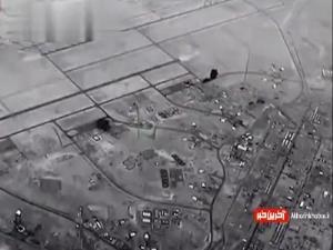 فیلم پهپادهای آمریکایی از اصابت دقیق موشکهای ایران به عین الاسد