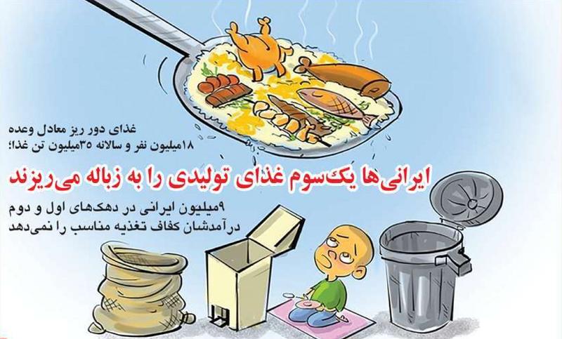 کاریکاتور/ ایرانی ها یک سوم غذای تولیدی را به زباله می ریزند!