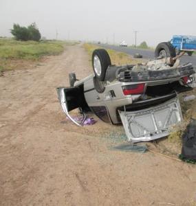 واژگونی پژو در بندرعباس یک کشته برجای گذاشت