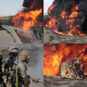 واژگونی مرگبار تانکر سوخت در تل سیاه بندرعباس