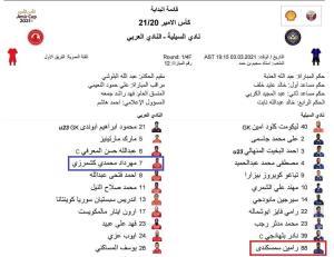 رضاییان در السیلیه و محمدی در ترکیب العربی
