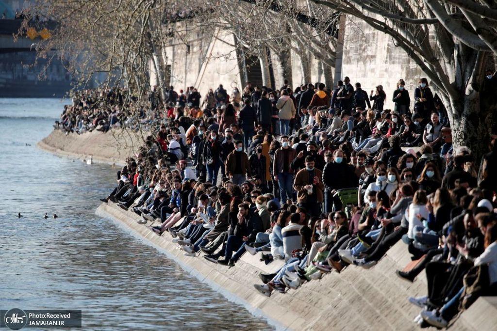 عکس/ ازدحام و بی توجهی به کرونا در پاریس