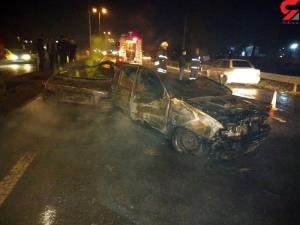 عکس پراید سوخته و خوش شانسی مرد رشتی در صحنه حادثه