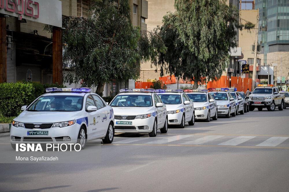 عکس/ مانور خودرویی هشدار کرونا در اهواز