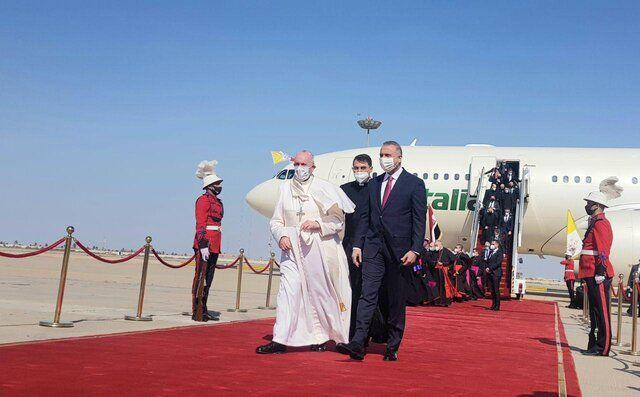 تصویری از لحظه ورود پاپ به بغداد