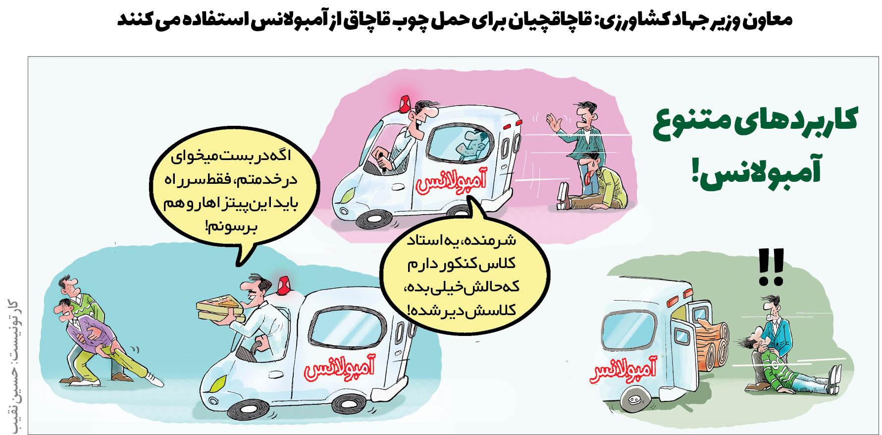 کارتون/ قاچاقچیان برای حمل چوب قاچاق از آمبولانس استفاده می کنند!