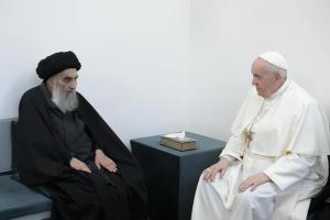 فیلمی از دیدار پاپ فرانسیس و آیتالله سیستانی