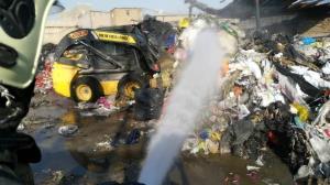 آتش سوزی یک کارگاه صنعتی در جاده خاوران