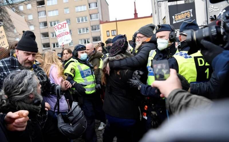 اعتراض سوئدیها علیه محدودیتهای کرونایی