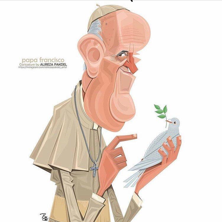 کارتون/ پاپ فرانسیس با کبوتر سفید!