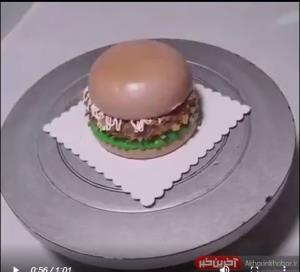 آموزش تزئین کیک به شکل همبرگر