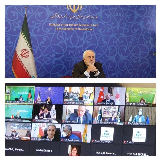 حضور ظریف در نشست مجازی شورای وزیران D-8