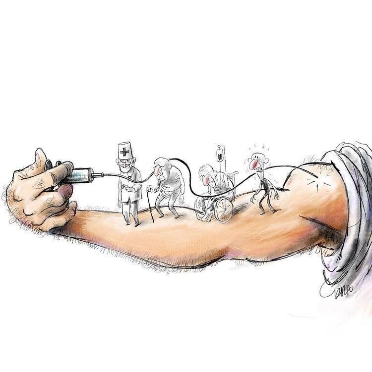 کاریکاتور/ ببینید واکسن به چه کسی رسید!