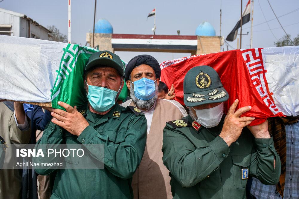عکس/ مراسم تبادل و استقبال از ۶۳ شهید تازه تفحص شده جنگ تحمیلی