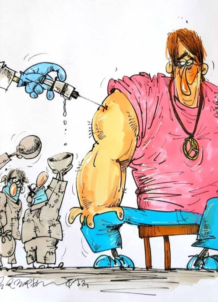 کاریکاتور/ بازم واکسن کرونا به پولدارها میرسه!