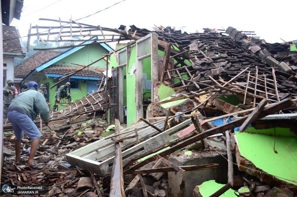 ریزش ساختمانی بر اثر زلزله در اندونزی