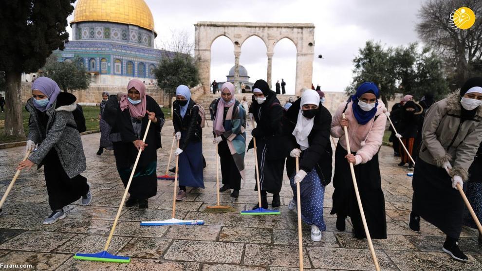 عکس/ شست و شوی مسجد الاقصی