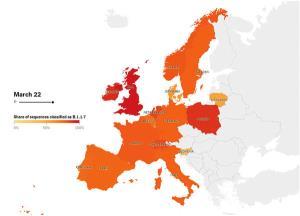 نقشه طغیان کرونا در اروپا