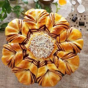 طرز تهیه نان نوتلا حرفه ای خوشمزه و مخصوص به شکل گل