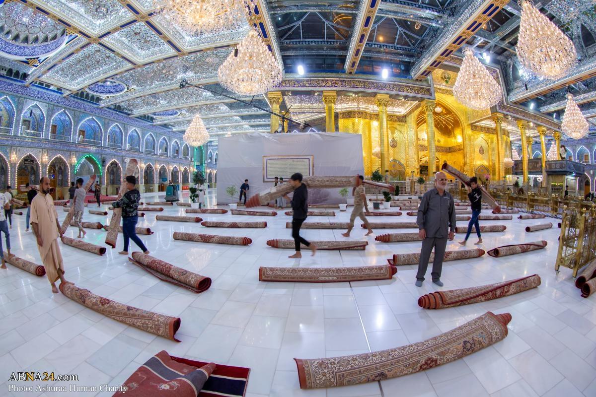 مفروش کردن حرم حضرت عباس(ع) به مناسبت ماه رمضان