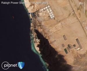 نیروگاه برق بندر جده عربستان غرق در آتش